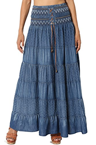(TheMogan Women's Embroidered Tiered A-Line High Waist Maxi Skirt Medium ONE Size)