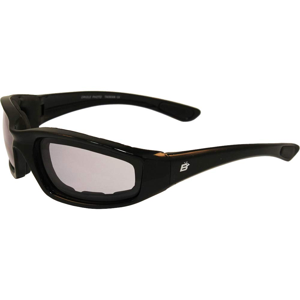 Birdz Eyewear Oriole Padded Motorcycle Glasses (Black Frame/Clear-Smoke Lens) by Birdz Eyewear