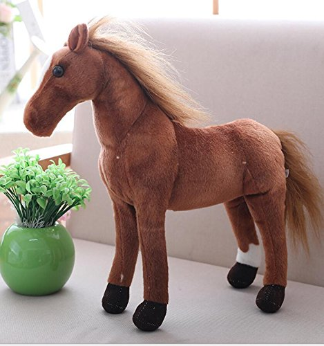 Pinjewelry Home Decoration Soft Toys 50cm Simulation Sweat Blood Horse Doll Plush Toy Doll Pony Doll Birthday Gift for Girls and Boys(Dark Brown) by Pinjewelry