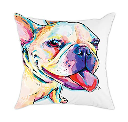 Redland Art Cute Pet Frenchie Dog Pattern Throw Pillow Covers Cotton Polyester Cushion Cover Cases Pillowcases Sofa Home Decor 18