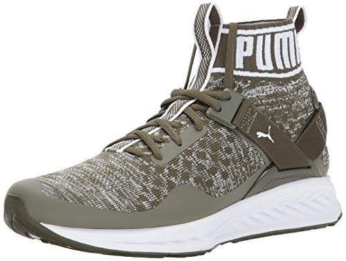 Puma Mens Ignite Evoknit Sneaker  Olive Night Quarry White  10 5 M Us