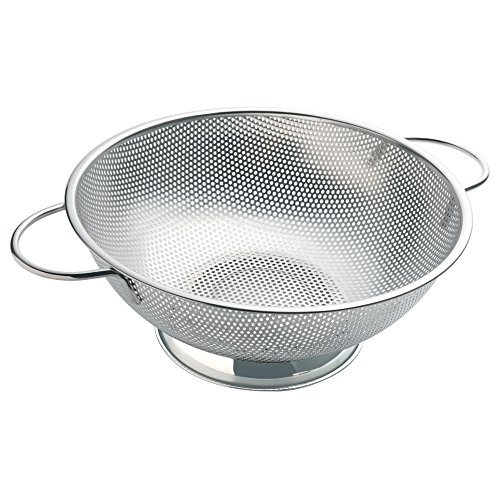 ZESPROKA Stainless Steel Micro-perforated 5-Quart Colander Strainer - With Solid Handles and Stable Draining Ring Base - Ideal for Pasta, Beans, Noodles, Vegetables & Fruits