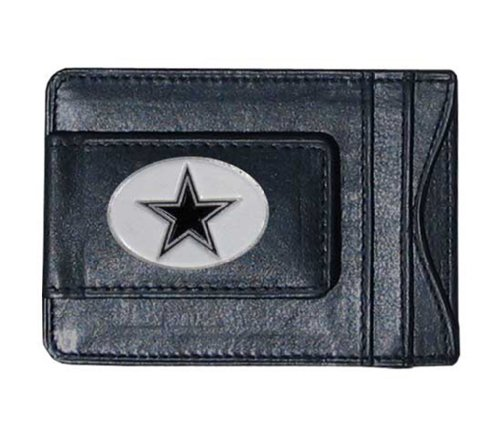 Dallas Cowboys Black Leather Card Holder & Money Clip