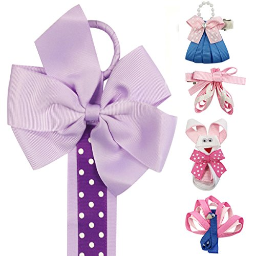 Grosgrain Ribbon Purses - Wrapables Peacock, Bunny, Purse, Ballet Shoes Ribbon Sculpture Hair Clips with Polka Dots Hair Clip / Hair Bow Holder, Purple