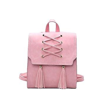 mochilas escolares adolescentes mochilas,Mujer Mochila escolar de borlas de cuero de PU,Beatie Gran capacidad Escolar Mochila de viaje Bolsa Casual Para ...
