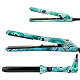 Best Curling Iron for Short Hair Flat Irons and Curling Iron Set 3-in-1 Ceramic Hair Straightener for All Hair Types Styling Tools with Glove Dual Voltage for Worldwide Use (Turquoise Peacock)