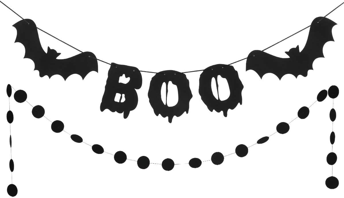 Black Glittery Boo Garland and Black Glittery Circle Dots Garland- Halloween Party Decorations,Bats Decor,Halloween Bats,Halloween Boo Banner for Mantle Home Decor