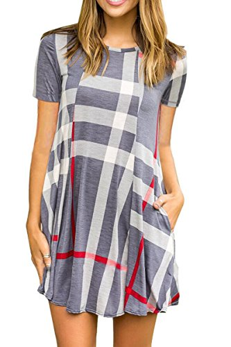 Sunfury Juniors Cute Casual Dresses For Teengirls Scoop Neck Short Sleeve Long Blouse Tops Grey - Size Junior Small