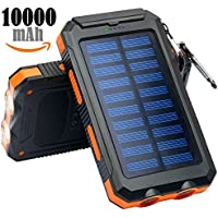 Solar Charger, Frolk Solar Power Bank 10000mAh. Waterproof Portable External Cell Phone Dual USB Battery Charger with Solar Panel,Dual LED Light,Compass for iPhone, iPad, Android Cell Phones