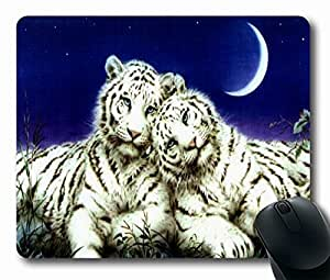 "White Tigers pics Personalized Custom Mouse Pad Oblong Shaped in 220mm*180mm*3mm (9""*7"")Style 0127021"