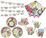 Alice in Wonderland Party Supplies - Vintage Tea party Set Paper Plates, cups, banner decorations napkins and cupcake stands