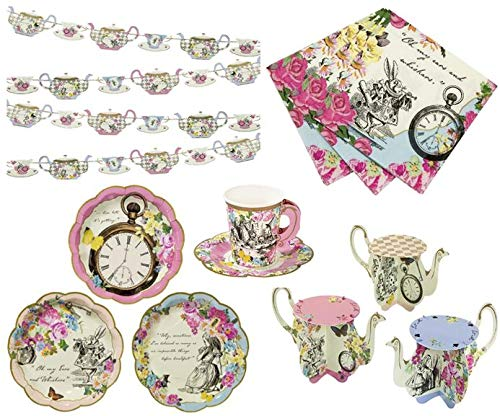 Alice in Wonderland Party Supplies - Vintage Tea party Set Paper Plates, cups, banner decorations napkins and cupcake stands for $<!--$49.99-->