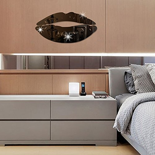 Clearance!! ZOMUSA Lips Mirror Removable Wall Stickers Decal Art Home Room Decoration DIY (Black)