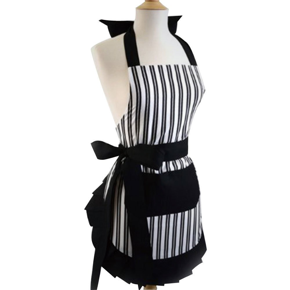 Qureal Women Apron Dress Plus Size with Extra Long Ties, Cotton Kitchen Vintage Cute Apron for Cooking, Baking, Crafting, Perfect Mother's Day (black)