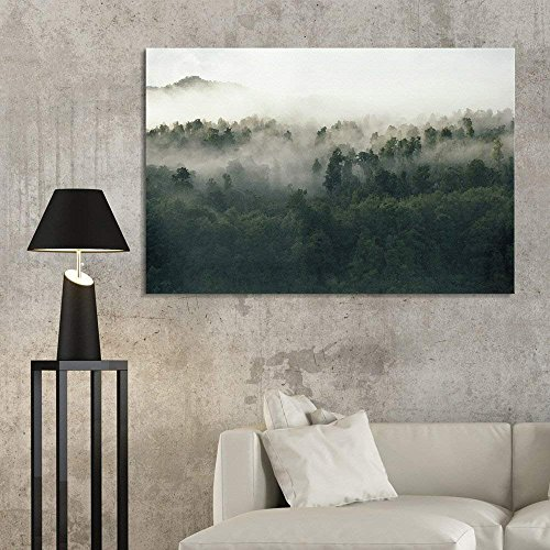 Watercolor Style Forest in The Mist