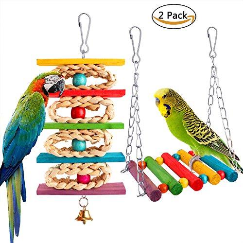 JoyJon Parrot Bird Toys Hanging Swing Toy Parrot Nest For Medium Small Parrots Bird by JoyJon