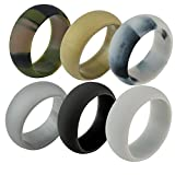 AMGJ Silicone Wedding Ring Men Women 6 Pack Metal Look Silicone Rubber Band