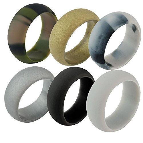 AMGJ Silicone Wedding Ring Men Women 6 Pack Metal Look Silicone Rubber Band by AMGJ