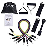 Suncaya Resistance Band Set - with 5 Stackable Exercise Bands, Door Anchor, Handles, Ankle Strap, Exercise Chart, 11 pcs