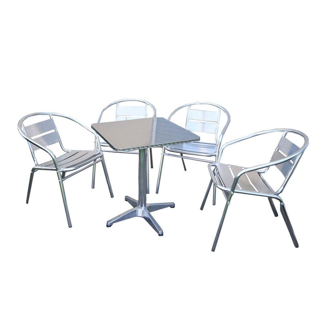 bistro garnitur garten sitzgruppe aluminium stapelbar tisch eckig 4x stuhl jetzt kaufen. Black Bedroom Furniture Sets. Home Design Ideas