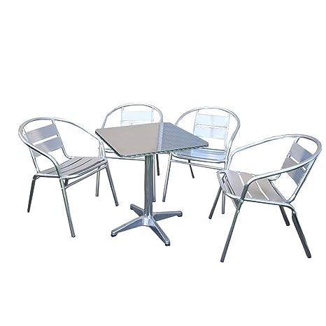 Mendler Ensemble Bistro M64 Table carrée + 4 chaises de Jardin, Aluminium,  empilable