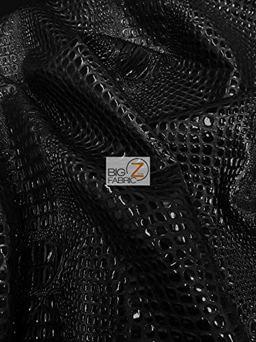 DuroLast Florida Gator 3D Embossed Vinyl Fabric by The Yard 2 Tone 3D Crocodile DIY Upholstery Accessories Apparel (Panther Black (New Lot))