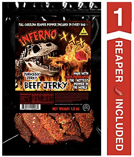 JURASSIC JERKY'S INFERNO - XXX HOT Beef Jerky Every 1.5 oz bag includes (1) Carolina Reaper Pepper the Hottest Pepper in the World! Can you handle the Heat? Take the Challenge!