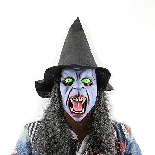 Emotion Masks (QTMY Latex Rubber Grotesques Ugly Horrible Witch Mask with Hat Hair for Halloween Party Costume)