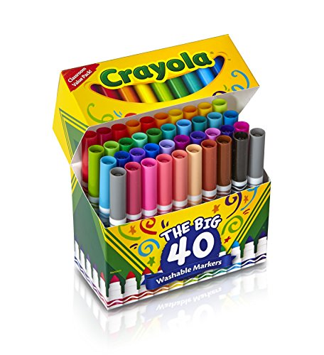 Crayola 58-7858 Ultra-Clean Washable Broad Line Markers, 40-Count>