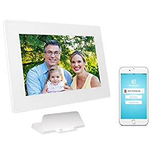 PhotoSpring (16GB) 10-Inch IPS, WiFi, Touchscreen, Battery, iPhone & Android App, Photo & Video, Picture Frame (White) 15,000 photo capacity