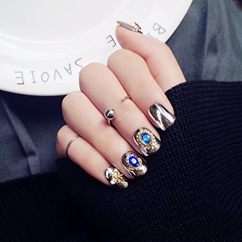 24pcs Royal Style Fake Nails press on nails with Rhinestone Silver Copper Pattern Nail Art maquiage Thanksgiving Gift for (Christmas Press On Nails)