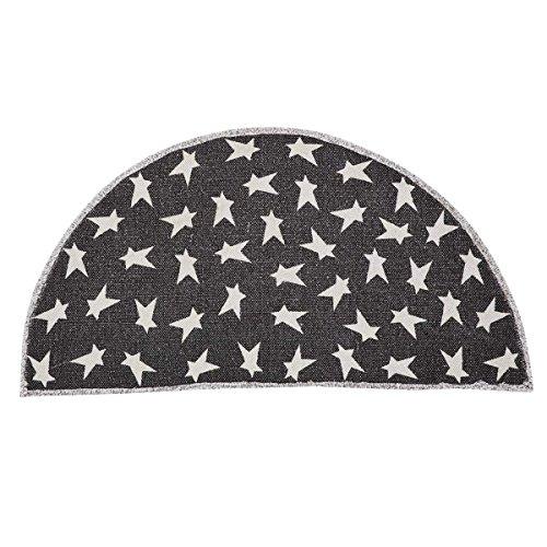 VHC Brands 20459 Flooring Primitive Star Black Half Circle Rug, 16.5