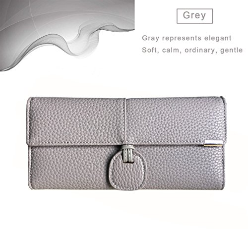 Rfid Blocking Leather wallet for women Girls,ladies long purse Large Capacity(Grey) by YOTOO (Image #6)