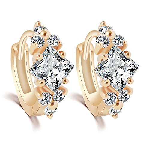 [Womens 18k Gold Crystal Love Engagement Hoop Earrings Accented with Cubic Zirconia] (Mickey Mouse Costume Men Diy)