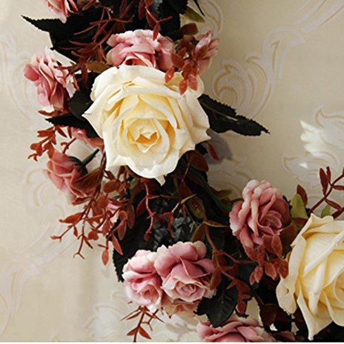 Meiyiu 45cm 18-inch Silk Flower Door Wreath Spring Summer Garden Wreaths Decorating for sitting room, hotel, wedding scene,wedding car, villa decoration by Meiyiu (Image #6)