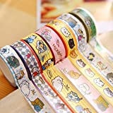 SaveStore 10 pcs/lot DIY Japanese Paper Washi Masking Tapes Neko Cats Decorative Adhesive Tapes Stickers 15mm10m Cute Stationery