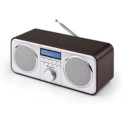 AUNA Georgia Radio Dab  Dab Digital Receiver  FM  Alarm Clock  AUX Input  LCD Display  Telescopic Antenna  Auto Adjust Date Time  Dark Brown