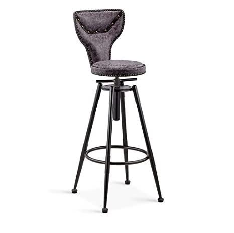 Surprising Amazon Com Xnlife Simple Bar Stools Grey Synthetic Leather Bralicious Painted Fabric Chair Ideas Braliciousco