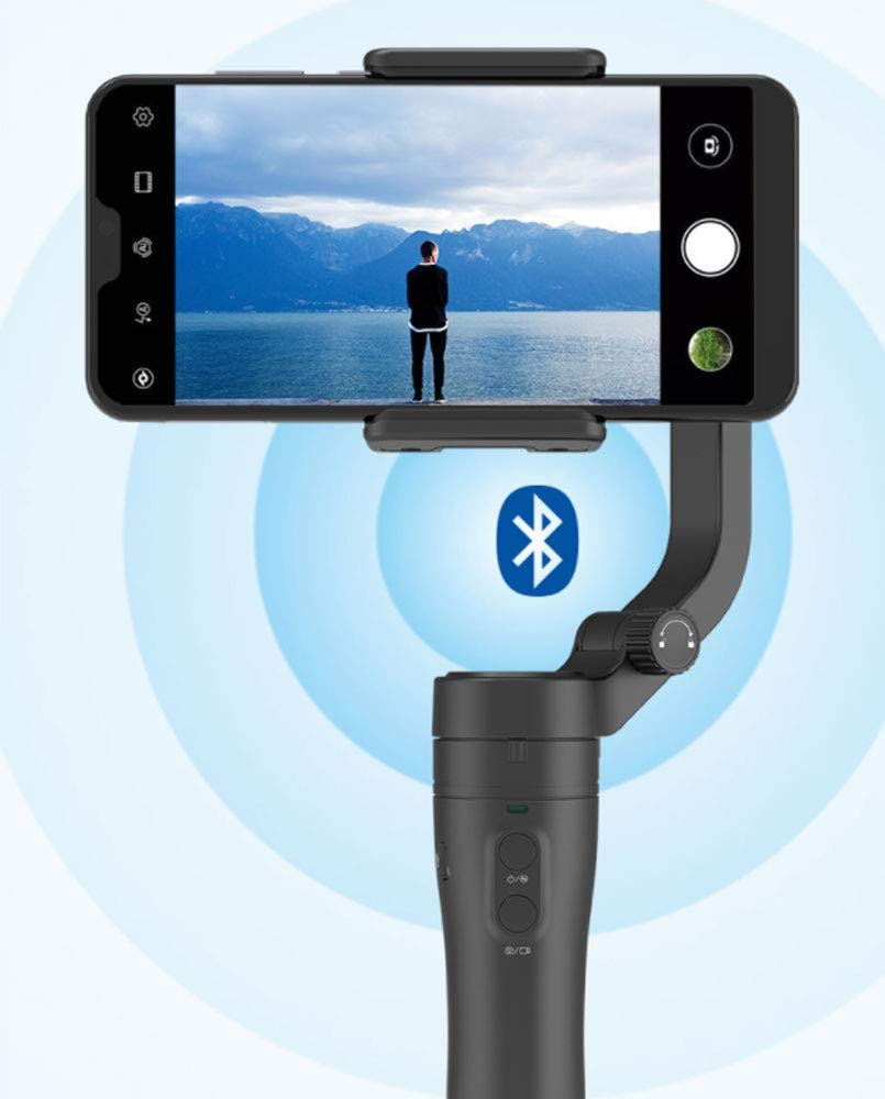NACEO Smartphone Gimbal Stabilizer 3-Axis Foldable Handheld with Face Tracking//Classic Zoom//Landscape Vertical Shooting//Intelligent Exposure//Track Delay,Black