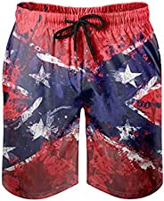 BOTURN Men's Swim Shorts Confederation Flag Rednek America States South Print Abstract Bathing Suits with
