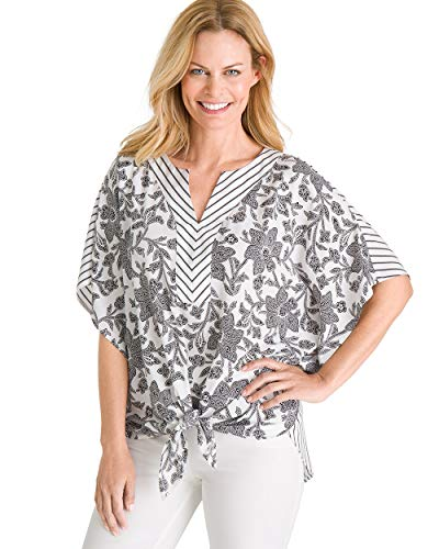 Chico's Women's Floral and Striped Tie-Front Flutter-Sleeve Top Size 16/18 XL (3) Black/White