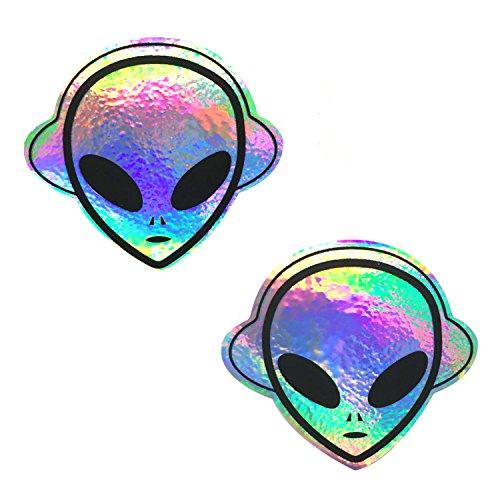 Neva Nude Kanye The Raver Alien Rainbow Holographic Nipztix Pasties Nipple Covers