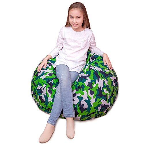 Generic Stuffed Animal Storage Bean Bag - Perfect Toy Storage Solution for Stuffies, Blankets, Towels, Pillows |Used Durable Soft 100% Cotton Canvas Machine Washable (Green Camo, 38
