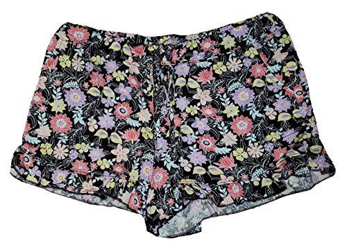 Black Soot Floral Ruffle Sleep Shorts