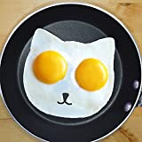 Cat Egg Mold By Egg Addiction ● Perfect Ring Molds for Fried Sunny Side up Eggs ● Made Using Only Eco-friendly Food Grade Nonstick Silicone ● Best New Fun Breakfast Kitchen Accessory