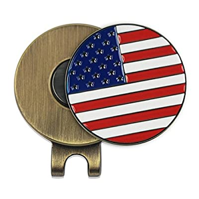 Cap Clip with USA Flag Magnetic Golf Ball Marker