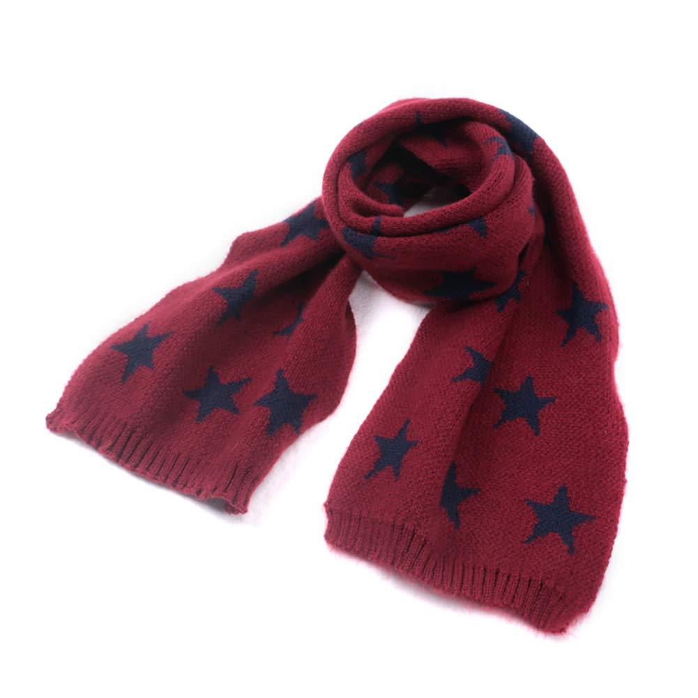 Gespout Unisex Kids Winter knitted Star Pattern Windproof Scarf Children Neckerchiefs Wrap Neck Warmer Ideal for Outdoor (Black)