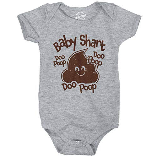 Creeper Baby Shart Doo Poop Baby Bodysuit Funny Baby Shark Newborn Shirt (Heather Grey) - 6 Months