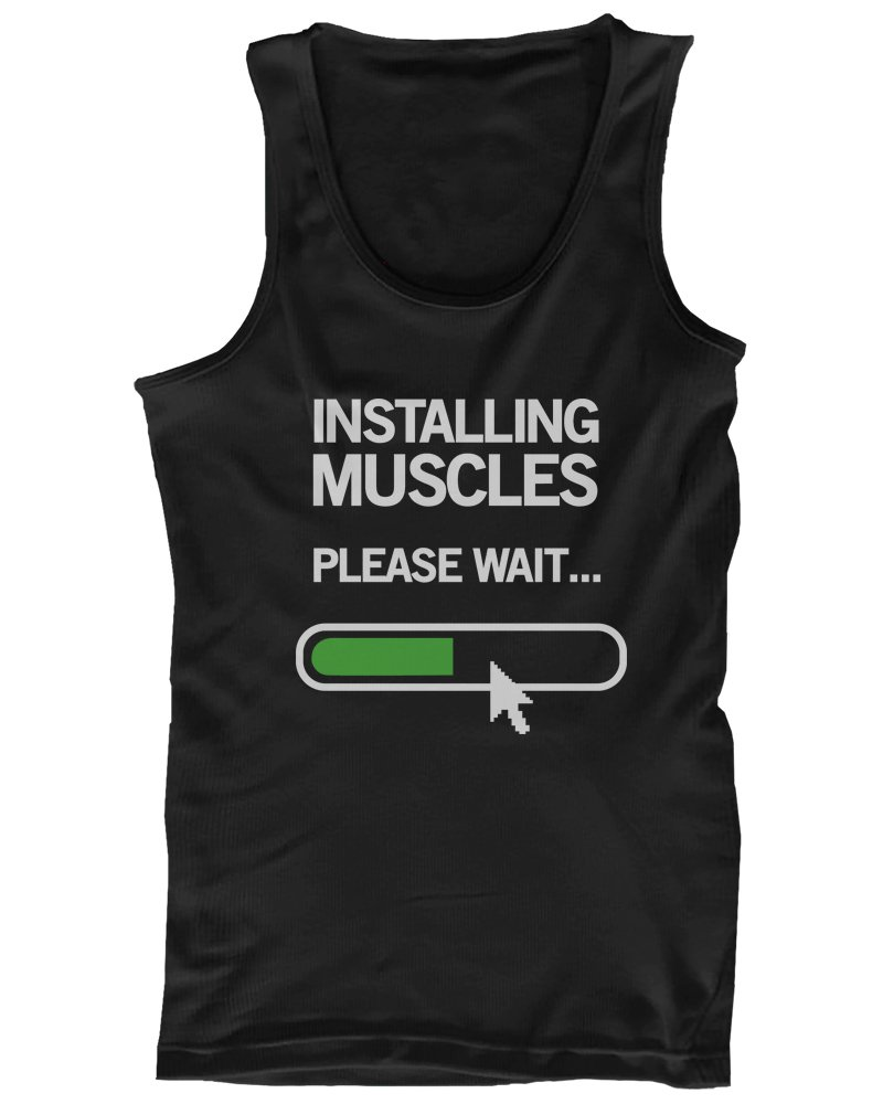 Installing Muscles Please Wait Men's Workout Tank Top Black Tanks for Gym 365 Printing Inc JTT070 M