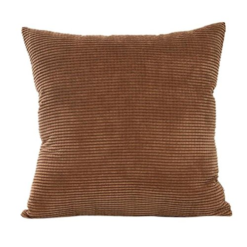 Ankola Cushion Covers, Solid Decorative Accent Pillow Case Corduroy Plush Velvet Corn Striped Throw Pillow Covers for Sofa, Cream Cheese, 18x18-inc (Coffee) Corduroy Accents